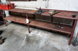 Steel twin shelf table, approx 3000 x 5600mm (Recommended collection period for this lot Wednesday