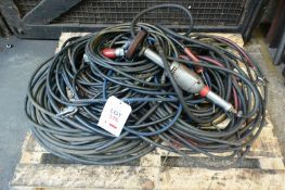 Pallet of assorted pneumatic air lines and two assorted pneumatic power hand tools (Recommended
