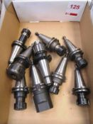 Box and contents to incl. various BT40 HSS tool holders (Recommended collection period for this