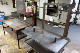 Two various steel frame fabrication/workbenches, max length approx 1600mm (Recommended collection
