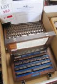 """Two various boxed imperial / metric slip gauge sets, 0.1/8"""" - 4"""" and 1.001 - 100mm (completeness"""