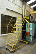 Steel frame painted mobile stairs, yellow, 2.2m height to platform (This Lot cannot be collected