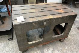 """Box table, mounted on steel frame, approx 48 x 30"""" (Recommended collection period for this lot"""