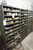 Three bays of bolted stores racking, approx bay width 960mm, approx bay height 1860mm (excludes