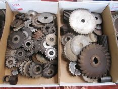 Two boxes and contents to incl. various diameter, horizontal face/side boring discs (Recommended