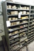 Contents of bay of racking, incl. split pins, taper pins, O rings, roll pins, air fittings, steel
