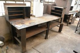 Steel workbench, approx 2450 x 600mm (Recommended collection period for this lot Wednesday 15th -