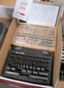 """Two various boxed imperial / metric slip gauge sets, 1/8"""" - 4"""" and 1.0005 - 100mm (completeness"""