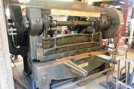 "Morgan Rushworth 6ft x 3/8"" mechanical power guillotine, serial no. 3679, manual back guage, front"