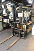 Daewoo B18T-2 battery operated ride on, dual mast forklift truck, serial no. CM00491, 1670 kgs max