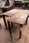 Two various steel frame fabrication/workbenches, max length approx 1660mm (Recommended collection