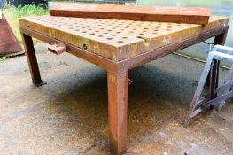 Steel table, approx 2 x 2m, mounted on frame (Recommended collection period for this lot Wednesday