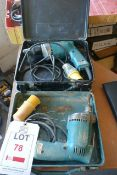 Two various 110v Makita drills with carry case