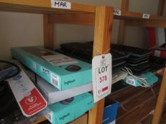 Quantity of assorted wireless & wire keyboards, mice, extension leads, cables, USB docking stations,