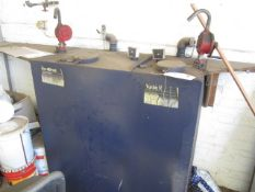 Steel framed oil storage tank with twin pump outlets, 1220 x 620 x 1220mm