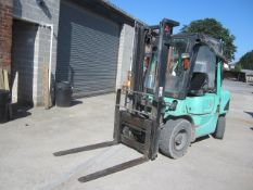 Mitsubishi 35 diesel powered duplex mast forklift truck, with side shift and all weather canopy,