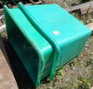Two green mobile plastic tub bins, 900 x 700 x 700mm