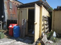 16ft export type shipping container with twin barn doors and internal timber framed shelving (please