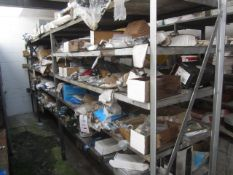 Contents of racking including locks, hangers, ironmongery, bolts, architectural hardwear etc.