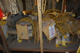 Quantity of 110v splitter boxes, various conditions (as lotted) (sold as spares/ repairs only)