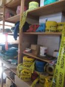 Quantity of assorted site caution tapes, site Frist Aid boxes, assorted saw blades, safety