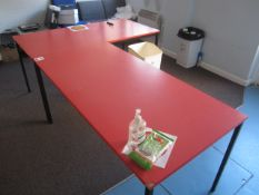 Two canteen tables, three assorted chairs