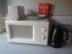 Indesit undercounter fridge, Proline microwave, kettle & toaster