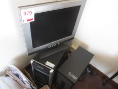 Two assorted computer towers (unknown working condition) flat screen monitor