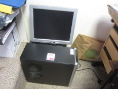 Two various computer towers, flat screen monitor, and HP Officejet Pro 8100 printer