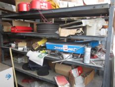 Contents of rack to include pointing gun kits, wire nails, nails, abrasive cutting discs etc.