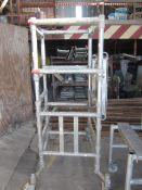 Un-named aluminium framed mobile portable scaffold tower