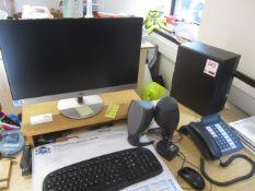 HP Core i3 computer system, flat screen monitor, keyboard, mouse, speakers, HP Laserjet P1102W &