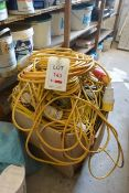 Contents of box, to include various 110v festoon lighting and extension cables
