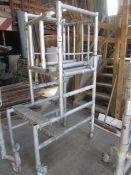 Un-named aluminium framed mobile portable scaffold tower, 650 x 700mm