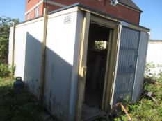 Jack leg 18ft single door portable site hut, triple window (Please Note: cannot be collected until