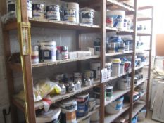 Quantity of assorted part tins of paint, including white, eggshell, high gloss, emulsion, Smith