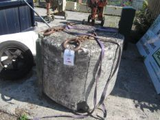 Un-named concrete weight with lifting chains. This item has no record of Thorough Examination. The
