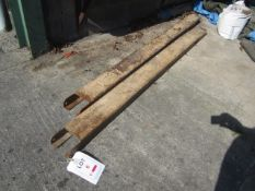 Steel set of forklift extensions, length 1900mm, width 130mm (one fork dented & damaged). This item
