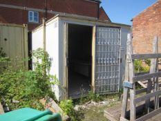 Jack leg 18ft single door portable site hut, triple window, anti theft panels & internal