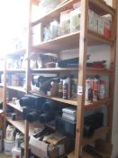 Contents of rack including adjustable post boxes, Elixer mono basin taps, part tin of wood filler,