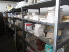 Contents of racking including assorted wall tiles, ceiling roses, flexistrip, acrylic adhesive