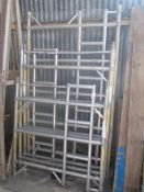 Euro Towers 9 panels double width ladder frame, four steel bins and thirty two 7.5 and 8.5 feet