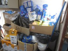Quantity of assorted PPE including hard hats, safety wellington boots, overshoes, particulate masks,
