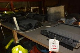 Contents of shelves (total of two bays) including various floodlights (working condition un-tested)