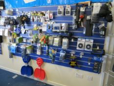 Contents of 3 display boards to include compass, first aid kits, toilet organisers, luggage