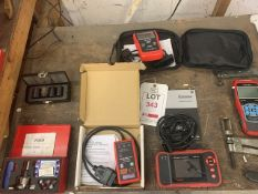 As lotted the table: Tension tester, Sealey service reset OBDI tool, Autel VAG, CR-Pro, Creader OBDI