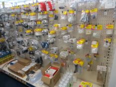 Contents of 6 display units to include a large quantity of motorhome and camping door fixings,