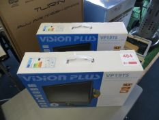 Two Vision Plus UP19TS portable HD television & DVD players 12/24V mains (boxed)