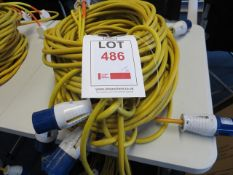 Six 10m 240v extension cables with 3 240 standard plug adaptors