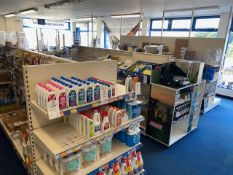 Three, four section double sided centre shop display units (collection Thursday 23rd September